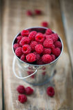 Bucket full of freshly picked raspberries Stock Photo
