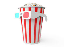 Bucket full of popcorn and 3D glasses Royalty Free Stock Image
