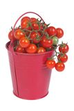 A bucket full of ripe cherry tomatoes isolated Stock Photo