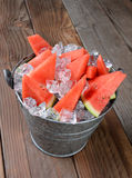 Bucket Full of Watermelon Slices Stock Photography