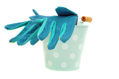 Bucket and Gloves Royalty Free Stock Photos