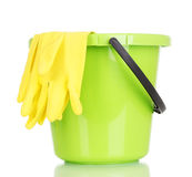Bucket and gloves for cleaning Stock Photo