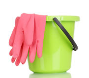Bucket and gloves for cleaning Royalty Free Stock Photos