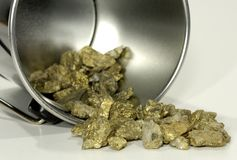 Bucket of Gold. Photo of a Bucket and Gold Nuggets Royalty Free Stock Photo