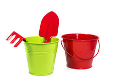 Bucket in green and red Stock Photography