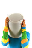 Bucket on head. On white Royalty Free Stock Images