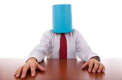 Bucket head businessman Royalty Free Stock Image
