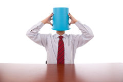 Bucket head businessman Stock Images