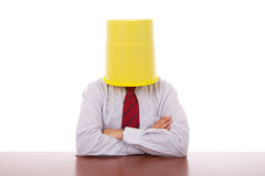 Bucket head businessman Royalty Free Stock Photos