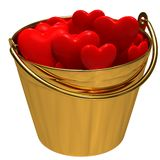 A bucket with hearts Stock Photo