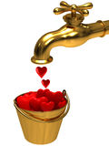 A bucket with hearts from the tap Stock Photo