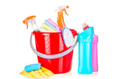 Bucket and household chemicals Royalty Free Stock Photos