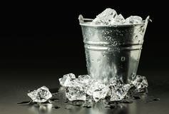 Bucket with ice Royalty Free Stock Photography