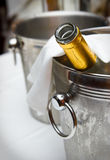Bucket with an ice for cooling drinks.  stock photo