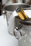 Bucket with an ice for cooling drinks Royalty Free Stock Photos