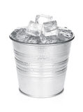 Bucket with ice cubes Royalty Free Stock Photography