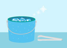 Bucket of Ice with snow symbols and tongs. Editable Clip Art. Stock Photography
