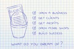 Bucket la lista con las metas del éxito empresarial del empresario, o hecho tictac fotos de archivo