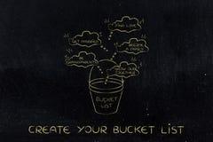 Bucket la liste d'amour et de rêves liés à la famille pour accomplir Image libre de droits