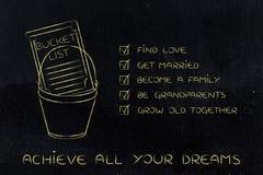 Bucket la liste d'amour et de rêves liés à la famille pour accomplir Photos stock