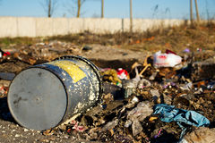 Bucket in a landfill Royalty Free Stock Photography