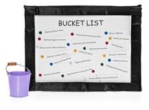 Bucket les listes sur le conseil et le seau sur des tâches réalisées Images stock