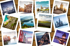 Bucket list destinations. On instant photos Royalty Free Stock Photography