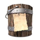 Bucket List Front. A vintage wooden bucket with metal ring supports and a handle and a aged paper attached to the front that reads bucket list on an background vector illustration