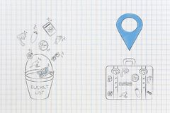 bucket list icon with travel-related icons coming out next luggage with gps pin above it stock images