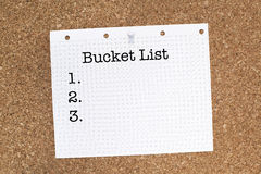 Bucket List. Note on cork Stock Image