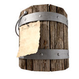 Bucket List Perspective. A vintage wooden bucket with metal ring supports and a handle and a aged paper attached to the front that reads bucket list on an Royalty Free Stock Photos