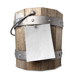 Bucket List. A vintage wooden bucket with metal ring supports and a handle and a blank paper attached to the front with a nail on an isolated background Stock Image