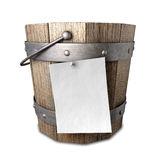 Bucket List. A vintage wooden bucket with metal ring supports and a handle and a blank paper attached to the front with a nail on an isolated background Stock Photography