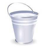 Bucket with milk. Metal bucket with milk over white background Stock Images