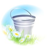 Bucket with milk Royalty Free Stock Photography