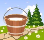 Bucket of milk Stock Photography
