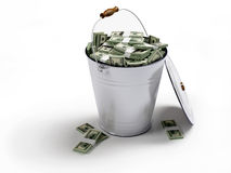 Bucket with money Royalty Free Stock Images