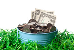 Bucket of money Royalty Free Stock Photography
