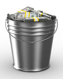 Bucket with money on white background Stock Image