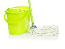 Bucket with mop Stock Images