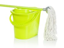 Bucket with mop on it royalty free stock images
