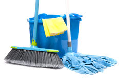 Bucket with mop,  brush. And gloves Stock Photo