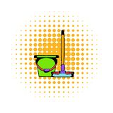 Bucket with a mop comics icon royalty free stock photography