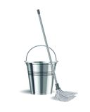 Bucket and mop on white background. Stock Image