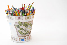 Bucket with multicolor pencils, isolated on white Stock Images