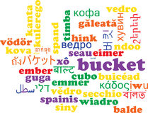 Bucket multilanguage wordcloud background concept Royalty Free Stock Photography