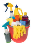 Bucket Of Cleaning Supplies Royalty Free Stock Images