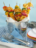 Bucket Of Shrimp Kebabs Stock Photo
