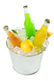 Bucket On Ice With Beverages Royalty Free Stock Photos