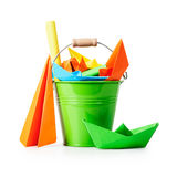 Bucket with origami toys Stock Photo